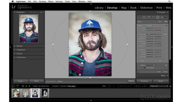Using the Radial filter to create a vignette: Lightroom 5 Essentials: 04 Develop Module Advanced Techniques