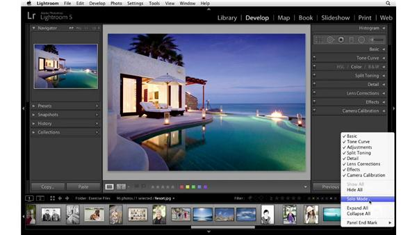 Turning on Solo mode: Lightroom 5 Essentials: 04 Develop Module Advanced Techniques