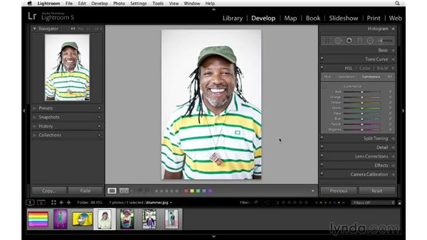 Improving color and tone with HSL: Lightroom 5 Essentials: 04 Develop Module Advanced Techniques