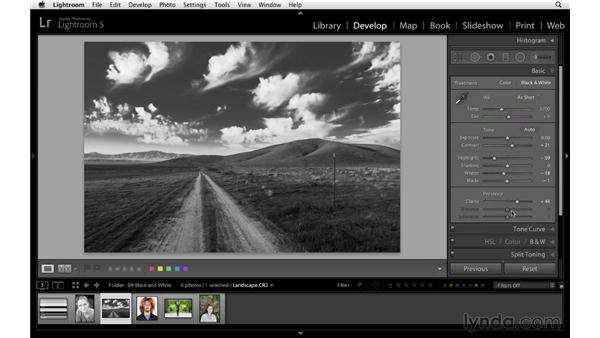 Using the Black and White panel, the Basic panel, and the Adjustment Brush: Lightroom 5 Essentials: 04 Develop Module Advanced Techniques