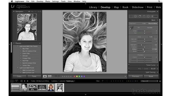 Using presets to convert to black and white: Lightroom 5 Essentials: 04 Develop Module Advanced Techniques