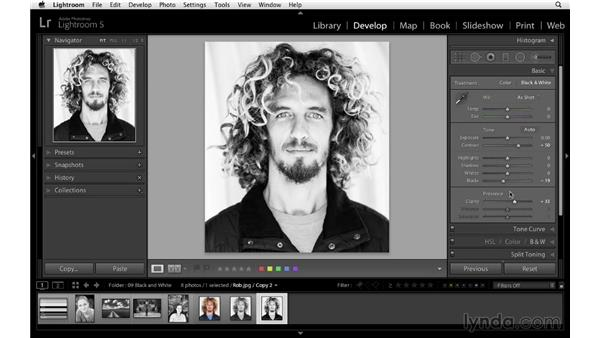 Creating black-and-white virtual copies: Lightroom 5 Essentials: 04 Develop Module Advanced Techniques
