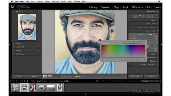 Creating unique color with split toning: Lightroom 5 Essentials: 04 Develop Module Advanced Techniques