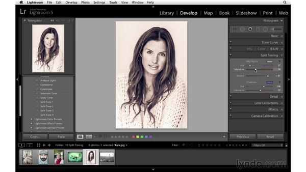 Applying and creating split-toning presets: Lightroom 5 Essentials: 04 Develop Module Advanced Techniques