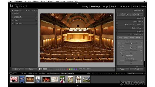 Removing distortion with the Basic and Manual controls: Lightroom 5 Essentials: 04 Develop Module Advanced Techniques