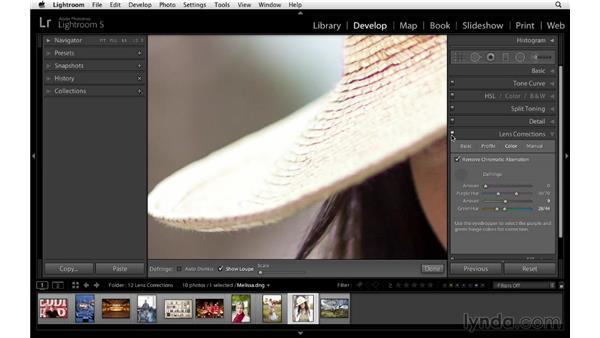 Removing color fringing or chromatic aberration: Lightroom 5 Essentials: 04 Develop Module Advanced Techniques