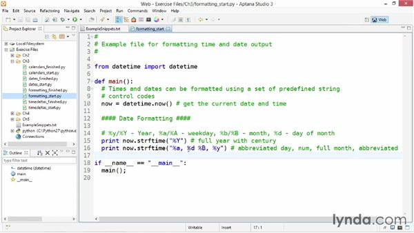 Formatting time output: Up and Running with Python