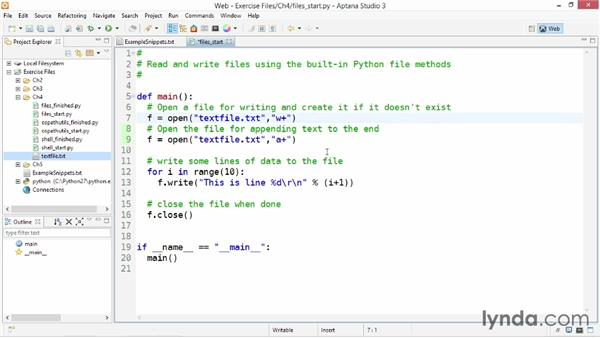 Reading and writing files: Up and Running with Python