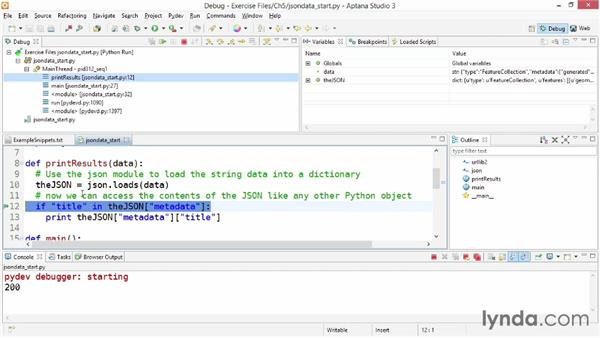 Working with JSON data: Up and Running with Python