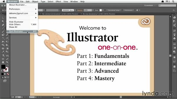 Closing all open documents on the Mac: Illustrator CC 2013 One-on-One: Fundamentals
