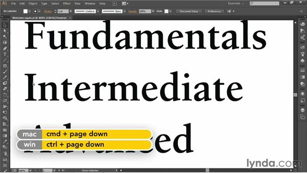 Using the Page Up and Page Down keys: Illustrator CC 2013 One-on-One: Fundamentals