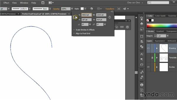 Reflecting and completing a shape: Illustrator CC 2013 One-on-One: Fundamentals