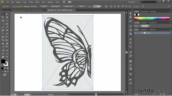 Place an image to create a dynamic link: Illustrator CC 2013 One-on-One: Fundamentals