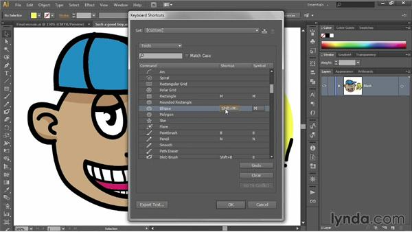Reassigning keyboard shortcuts: Illustrator CC 2013 One-on-One: Fundamentals