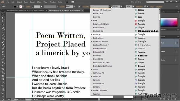Previewing and assigning fonts: Illustrator CC 2013 One-on-One: Fundamentals