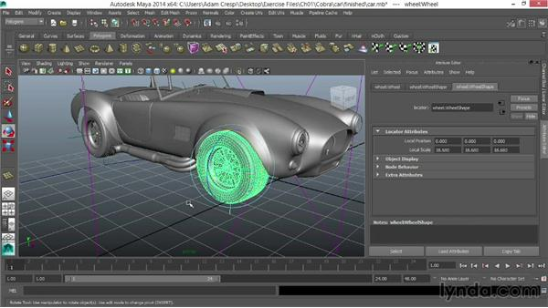 Opening and assessing the model: Vehicle Rigging in Maya