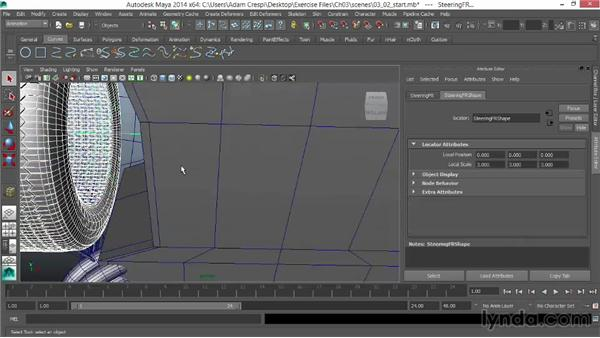 Parenting the tires and hubs: Vehicle Rigging in Maya