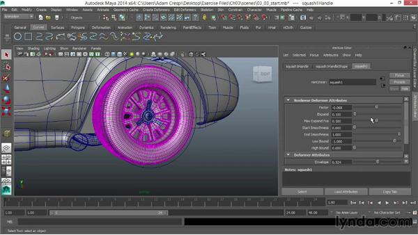 Flattening the tires to the road: Vehicle Rigging in Maya