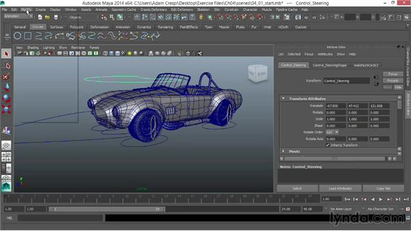 Parenting the wheel assemblies: Vehicle Rigging in Maya
