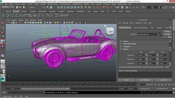 Limiting rotation of the steering and body: Vehicle Rigging in Maya