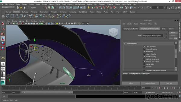 Applying interior finishes: Vehicle Rigging in Maya