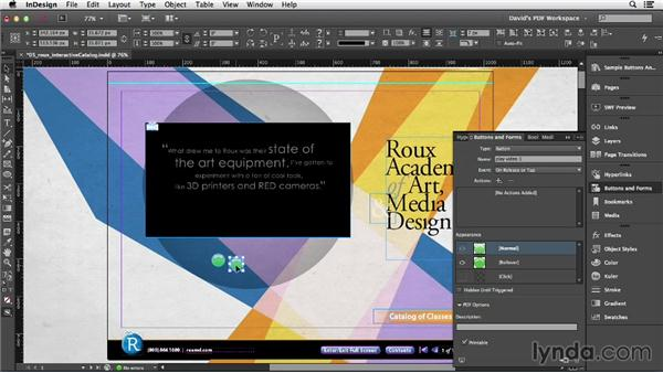 Sound and video buttons: InDesign Insider Training: Interactive PDFs