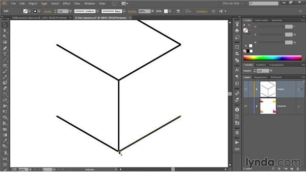 241 Drawing an orthogonal cube with the line tool: Deke's Techniques