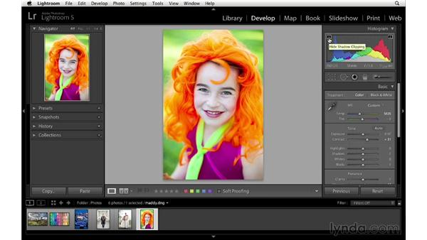 Making basic adjustments in the Develop module: Lightroom 5 Essentials: 05 Creating Prints and Books