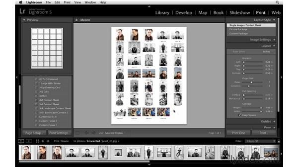 Creating a contact sheet: Lightroom 5 Essentials: 05 Creating Prints and Books