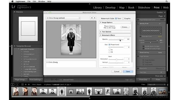 Exploring page options for a single image: Lightroom 5 Essentials: 05 Creating Prints and Books