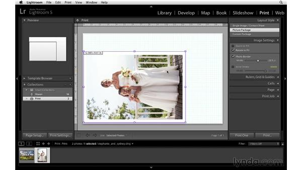 Using the Picture Package layout style: Lightroom 5 Essentials: 05 Creating Prints and Books