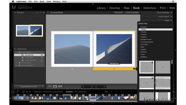 Saving favorite page layouts: Lightroom 5 Essentials: 05 Creating Prints and Books