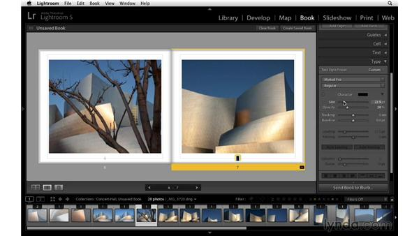 Adding page numbers: Lightroom 5 Essentials: 05 Creating Prints and Books