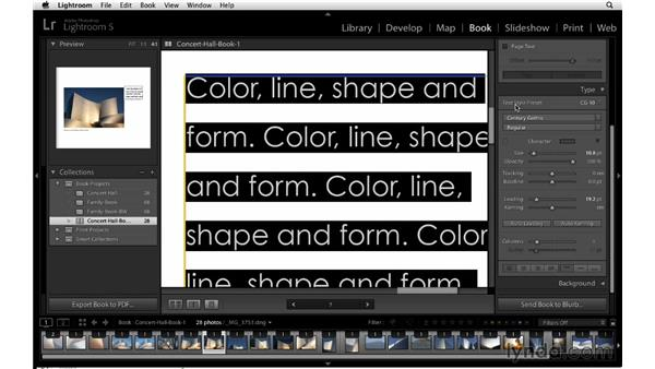 Using and creating type presets: Lightroom 5 Essentials: 05 Creating Prints and Books
