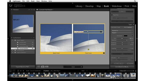 A creative approach to selecting a title for your book: Lightroom 5 Essentials: 05 Creating Prints and Books
