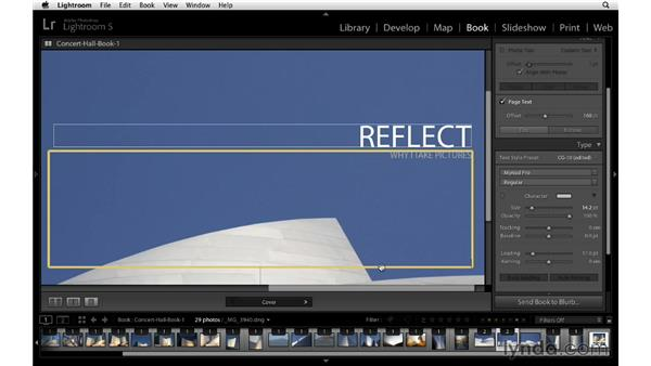 Adding another text field to your cover: Lightroom 5 Essentials: 05 Creating Prints and Books