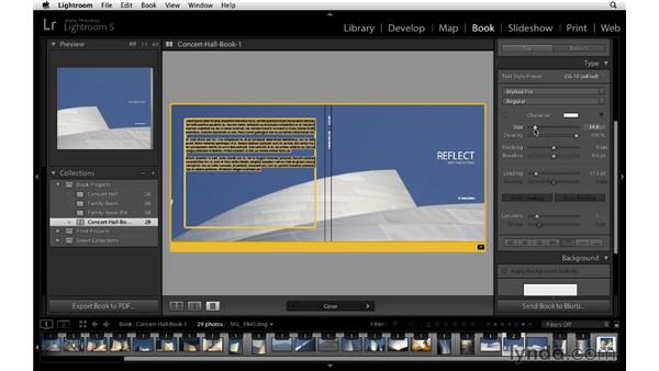 Selecting an alternate cover layout template: Lightroom 5 Essentials: 05 Creating Prints and Books