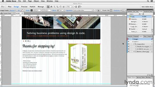 Working with the Layers panel (New): Designing a Portfolio Website with Muse