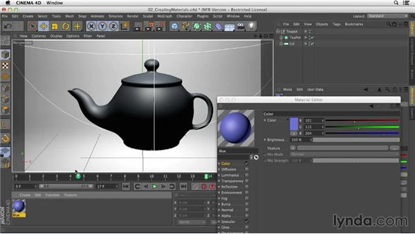Creating and applying materials to objects: Creating Materials in CINEMA 4D