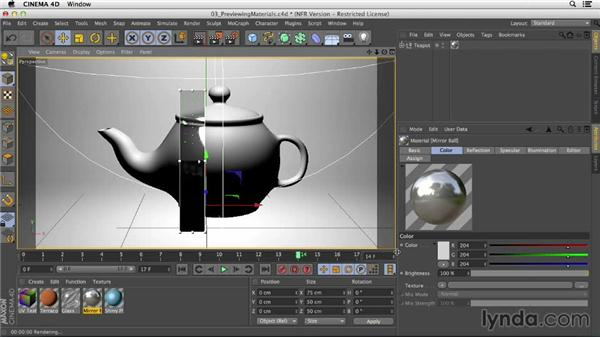Using the Interactive Render Region to preview your materials: Creating Materials in CINEMA 4D