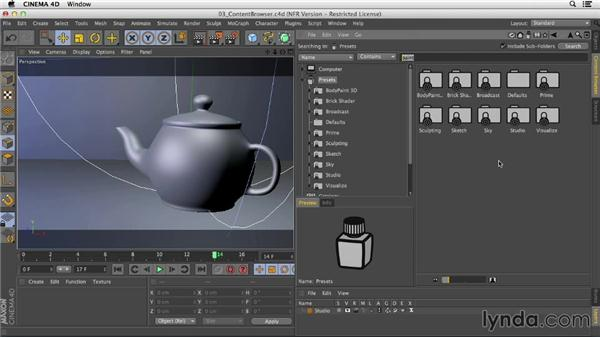 Using the Content Browser: Creating Materials in CINEMA 4D