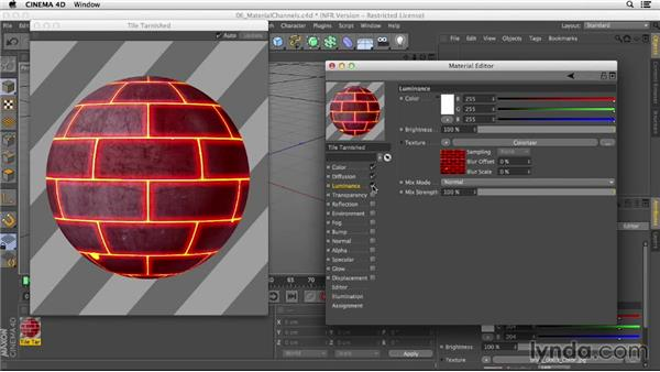 Using the various material channels: Creating Materials in CINEMA 4D
