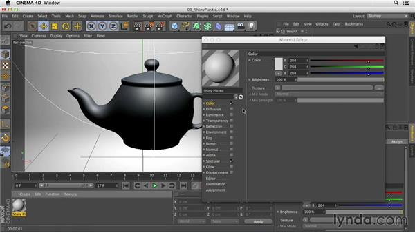 Creating shiny plastic with the Specular channel: Creating Materials in CINEMA 4D