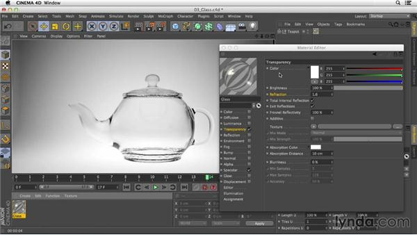 Creating glass using transparency and refraction: Creating Materials in CINEMA 4D