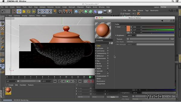 Creating terra-cotta using the Oren-Nayar model in the Illumination channel: Creating Materials in CINEMA 4D