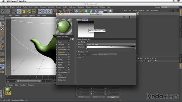 Creating a more realistic plastic with the Fresnel shader: Creating Materials in CINEMA 4D