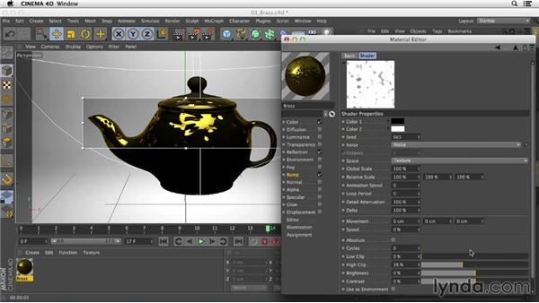 Creating a brass material using the Noise shader in the Bump channel: Creating Materials in CINEMA 4D