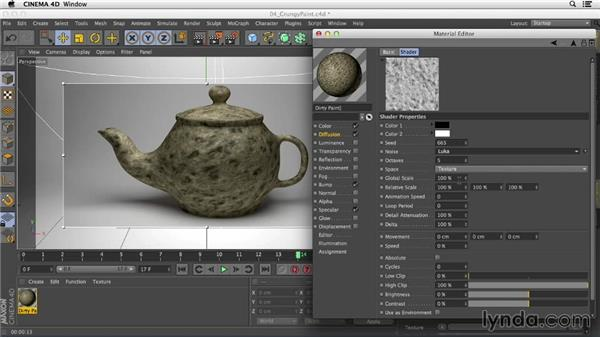Adding grunge to paint using the Noise shader in the Diffusion channel: Creating Materials in CINEMA 4D