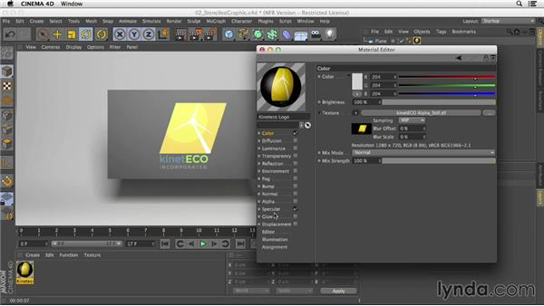 Creating a stenciled graphic with the Alpha channel: Creating Materials in CINEMA 4D