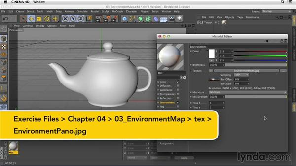 Creating a simple chrome material using an HDRI image in the Environment channel: Creating Materials in CINEMA 4D